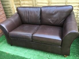 FREE brown leather 2 seater sofa