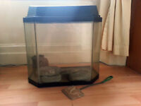 "Aquarium Fish Tank, approximately 18""x10""x14"", with ornaments."
