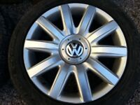 """Four 18"""" VW alloy wheels; 5x112 PCD; 1 excellent, 3 very scruffy, 2 tyres"""