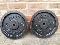 CAST IRON 15KG BODY POWER WEIGHT PLATES