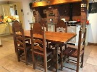 Rustic Style Dining Table And 6 Chairs