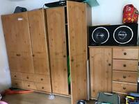 Solid Pine wood bedroom wardrobe cabinet furniture from Harvey's