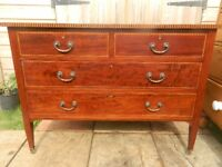 Mahogany Chest of Drawers on Brass Castors