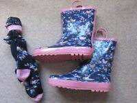 Girls Multi Coloured Birds Handle Welly and Matching Socks UK Size 1 from BHS