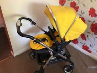 Yellow Silver Cross Travel System