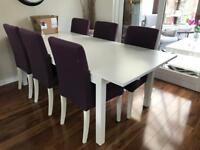 White dining table with 6 chairs