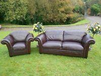3+1 Good Quality Dark Brown Leather Sofa
