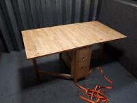IKEA Gateleg table, solid hardwood foldable table with drawers