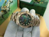 New Swiss Ladies Rolex Oyster Datejust Perpetual Automatic Watch, Stone face Rainbow dial