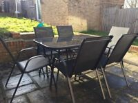 8 month old Black 6 seater Garden furniture set INCLUDES CANOPY