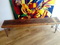 Vintage industrial style reclaimed timber bench