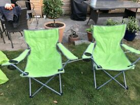 2 folding chairs with storage bags.Small adult/child size.Drink holder in arm.Good condition. £10