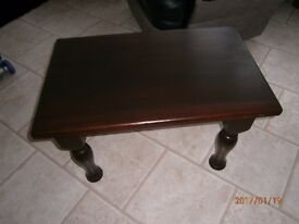 SOLID HARDWOOD COFFEE TABLE WITH ATTRACTIVE SOLID TURNED LEGS-VERY WELL MADE .