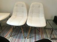 2x white faux leather retro chairs