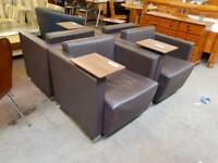 Brown leather reception seating (x4 available)