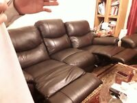 REAL REAL LEATHER RECLINER SOFAS,3+2 SEATER- VERY CLEAN LIKE NEW-DARK BROWN-COMFORTABLE.1 YEAR OLD,