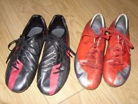 2 Pairs Of Used Nike Football Boots - T90 Shoot IV + Mercurial Veloci - UK Size 9 / EUR 44