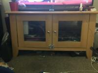 Tv cabinet beach with glass shelf and doors