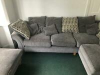 Large comfy corner sofa with chair and foot rest