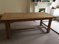 """Solid oak 8 seat dining table 191 x 89.5 cm. 75"""" x 35.5"""""""