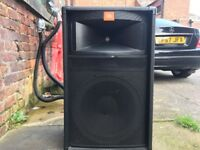 PA system ready to go Carlsboro GRX7 Mixer amp with FX JBL speakers with stands and leads