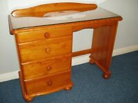PINE DESK / DRESSING TABLE - WITH DRAWERS / GLASS TOP & MAT