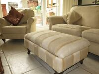 Sand DFS 3 Seater Sofa, Armchair & Matching Footstool Suite