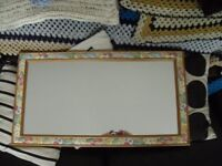 Wood Framed Rectangular Wall Mirror with Flowered Border, Size 69 x 38 cm