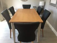 TABLE & 6 CHAIRS (brand new- ex show home unwanted item)