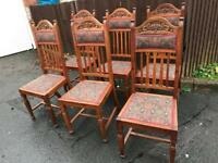 X 6 SOLID WOOD CHAIRS VGC. SHABBY CHIC PROJECT ** FREE DELIVERY IS AVAILABLE **