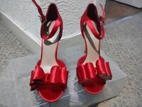 Red strappy high heel shoes Kurt Geiger size 5