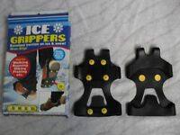 ICE GRIPPERS EXCELLENT TRACTION ON ICE AND SNOW IDEAL FOR WALKING, RUNNING, HIKING ETC