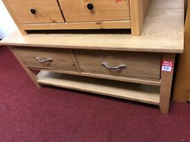 2 drawer oak coffee table - silver handles