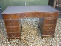 Twin Pedestal Writing Desk with Brown Faux Leather Inlay