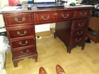 Mahogany 8 drawer desk with leather inlaid top, Drawers and Bookcases