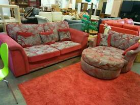 Large red fabric 2 seater sofa bed with cuddle chair and footstool