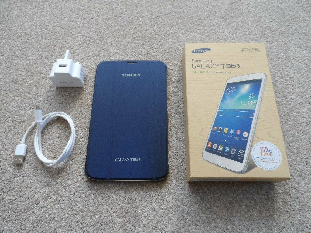 Samsung Galaxy Tab3 8 inch Wifi 16Gbin Cotgrave, NottinghamshireGumtree - Samsung Galaxy Tab 3. 8 inch screen, 16gb WIFI Comes with an original Samsung protective case in dark Blue which turn the screen on and off as you open and close the case, comes with box, manuals, samsung charger and cable. In excellent condition and...