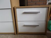 Bedside cabinet - modern light oak colour with white gloss drawer fronts