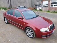 2005 SKODA SUPERB 2.5 TDI V6 ELEGANCE SEMI-AUTOMATIC 4 DOOR SALOON RED LONG M.O.T