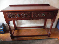 Old Charm Dark Oak Hall Console Table with 2 drawers