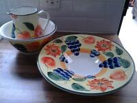 painted jug, bowl and platter set