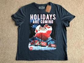 BRAND NEW WITH TAGS F&F COCA COLA HOLIDAYS ARE COMING CHRISTMAS T-SHIRT SIZE 2XL