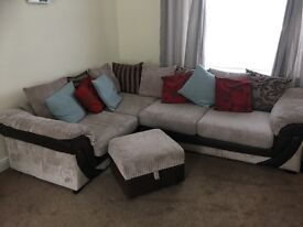 Dfs large corner sofa- storage footstool