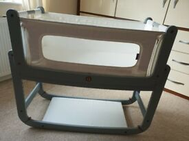 Snuzpod 2 bedside crib in Dove Grey. Excellent condition
