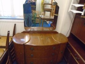 vintage dressing table 3 drawers two cupboards and a large mirror.