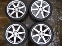 """Mercedes Benz 16"""" Alloy Wheels to Suit C class with tyres, no damage in good condition"""