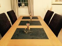 wood and slate insert dining table and six chairs