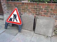 15 x grey concrete paving garden shed slabs