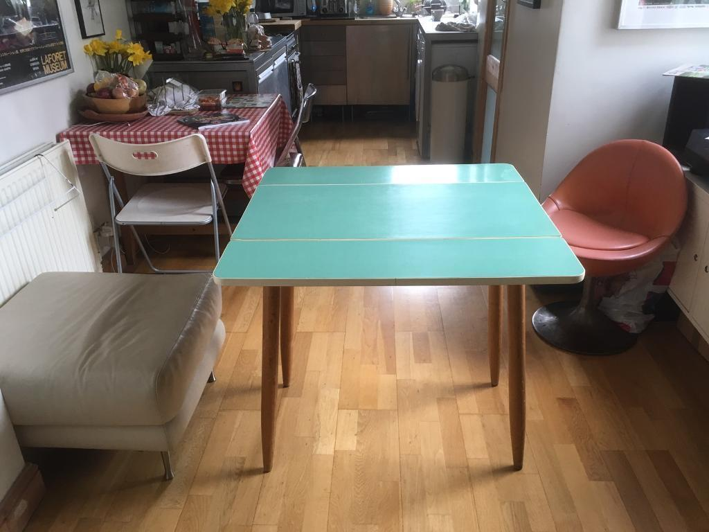 Vintage Kitchen Table 1950\'s 1960\'s, Blue Formica, Folding | in ...
