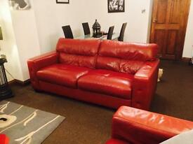 3 Seater & 2 Seater Cherry Red Leather Sofa's